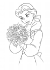 Belle with a bouquet of roses