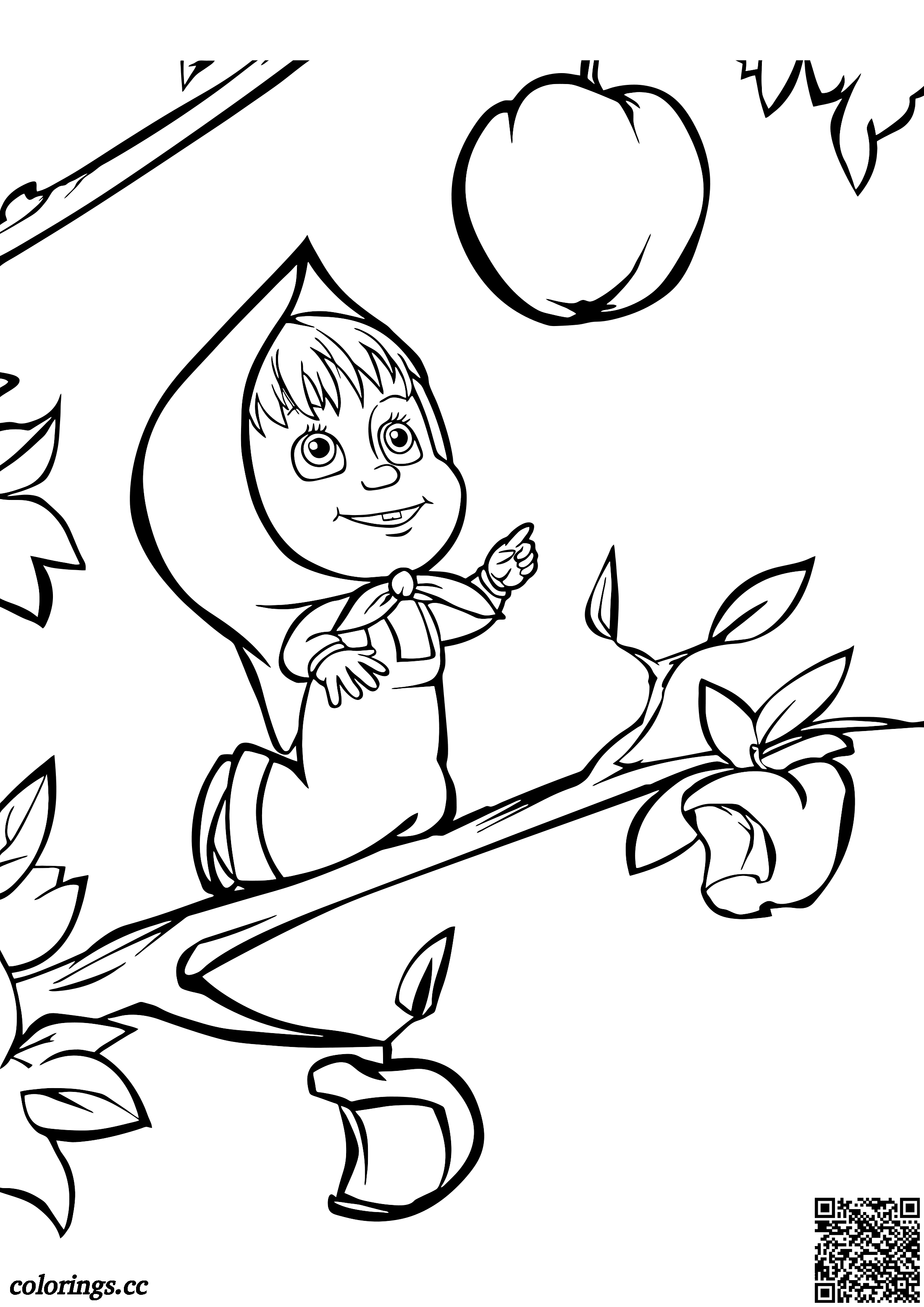 Masha Climbed An Apple Tree Coloring Pages Masha And The Bear Coloring Pages Colorings Cc