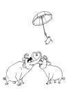 Circus elephants and a penguin with an umbrella