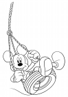 Mickey Mouse on a tire swing