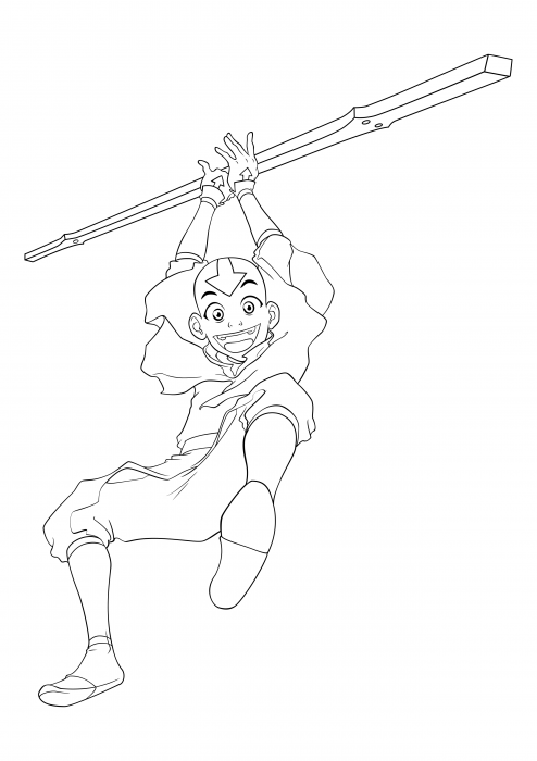 Aang with a staff