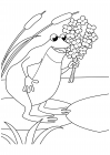 Toad with a bouquet of flowers