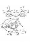 Chumpkins, Wombat and P. King Duckling in helicopter