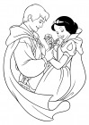 The prince gives flowers to Snow White