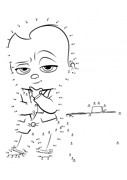 Boss Milk Sucker Point By Point Coloring Pages Boss Baby Coloring Pages Colorings Cc