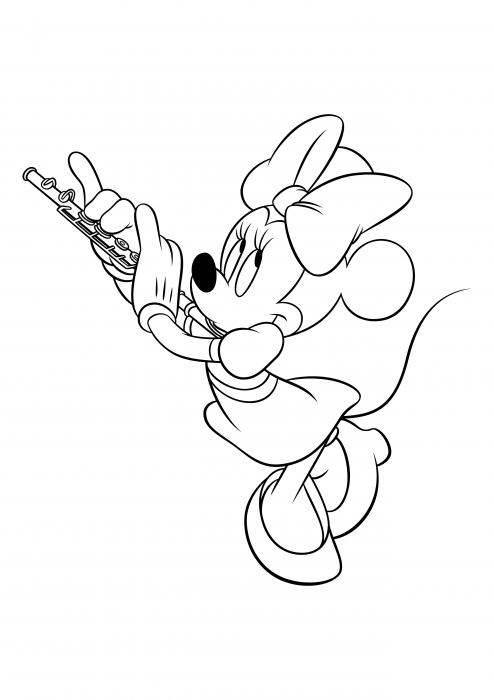 Minnie Mouse plays the flute