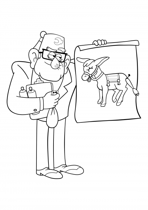 Stan with a donkey on the poster