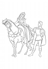 Coloring for girls - Disney Princess - Princess Aurora on horseback and Prince Phillip