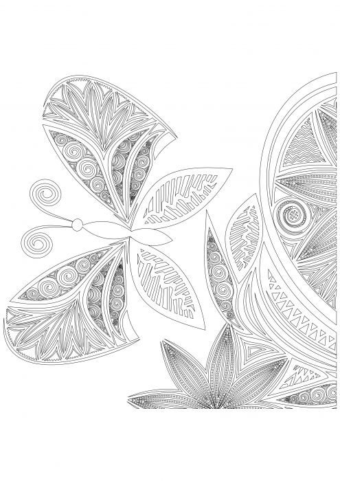 Patterned butterfly with plants 3