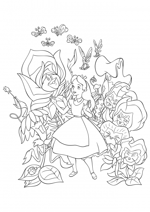 Alice among flowers