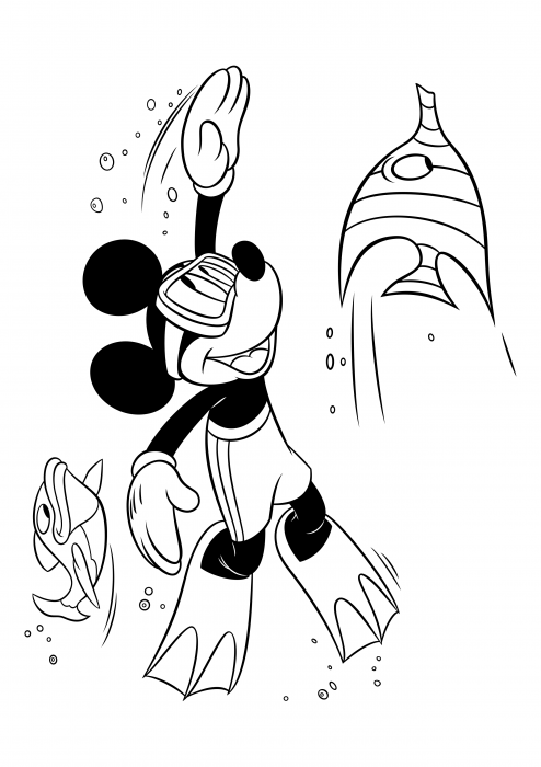 Mickey Mouse is swimming under water