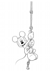 Mickey Mouse climbs the tightrope